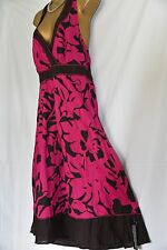 Debenhams designer, John Rocha 100% cotton occasion/ sundress brown/ pink sz 14