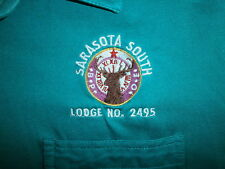 vtg ELKS SARASOTA SOUTH POLO SHIRT Pocket Lodge 2495 Florida BPOE Sewn Logo L