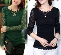 Fashion Women's Ladies Long Sleeve Lace Tops Shirt Blouse UK Size 6 8 10 12 14