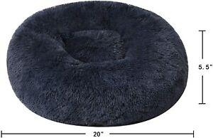 Binetgo Dog Cat Bed Cushion Bed Faux Fur Donut Cuddler For Dog Cat NAVY BLUE