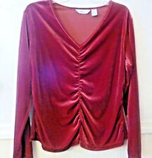Women's Westbound long sleeve blouse red polyester/stretch size Large