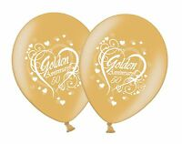 "Happy Golden 50th Anniversary Printed 12"" White on Gold Latex Balloons 1-100ct"