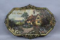 Vintage Glass Bubble Frame God Bless Our Home Jesus Cottage Dried Flowers 1940s