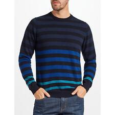 John Lewis Italian Cashmere Multi Stripe Jumper, Blue large