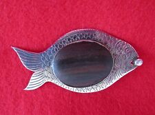 Fish Pin Brooch - Great Detail Work Vintage 825 Silver and Wood w/ Rhinestone