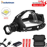 Super Bright 90000LM XHP70 LED Headlamp Rechargeable 5Modes Zoom Headlight 18650