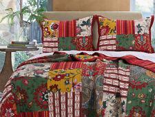3pc ARCADIA King Quilt Set Reversible Patchwork Flower Paisley Bohemian Nature