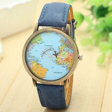 RELOJ  MAPA MUNDO Mini World map watch color azul