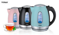 TODO 1.7L Stainless Steel Cordless Kettle 2200W Blue Led Light Electric Water...