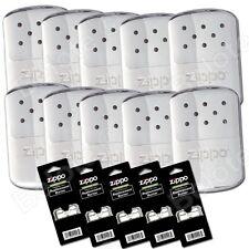 Zippo Set, 10 Chrome Refillable Deluxe Hand Warmer & 5 Burners 40306 44003 40323