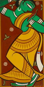 Jamini Roy Painting of Dancing Gopi Poster Reproduction Giclee Canvas Print
