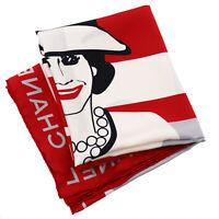 CHANEL Logos Coco Chanel Border Scarf 100% Silk Red Vintage Italy Auth #AB353 Y