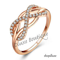 WOMEN'S ROSE GOLD PLATED INFINITY KNOT FRIENDSHIP LOVE PROMISE RING SIZE 5-10