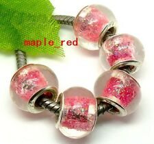 Fashion Shiny Foil Lampwork Glass Beads Fit European Charm Bracelet