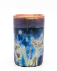 Unusual Vintage Pottery Vase / Beaker Iridescent Blue Glaze Signed and dated by