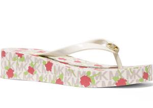 NEW Size 10 Michael Kors Bedford Platform Flip-Flops Vanilla Floral Logo