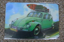 VW Beetle Car Tin Metal Sign Painted Poster Club Book  Wall Art Office Garage