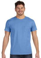 Hanes Mens Short Sleeve Crewneck Ribbed Collar Nano-T Chest Pocket T-Shirt. 498P