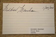 1947 1948 AAGPBL WOMENS BASEBALL MILDRED MEACHAM AUTHENTIC SIGNED AUTOGRAPH