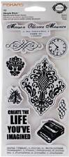 FISKARS Simple Stick MAISON Rubber Cling Stamps DAMASK FILIGREE CLOCK TYPEWRITER