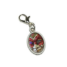 New Orleans Mardi Gras Mask - Antiqued Bracelet Oval Charm with Lobster Clasp