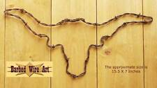 Longhorn - handmade metal art barbed wire art farm cow rodeo country sculpture