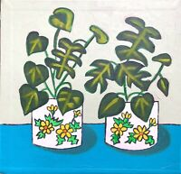 Original Painting Monstera Houseplants On Board,Naive/Folk Art Cheeseplant