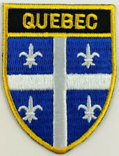 Quebec Flag Shield Crest Patch Embroidered Iron On Sew On