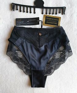 """NEW M&S AUTOGRAPH """"ROSIE LUXURIOUS SILK & LACE HIGH LEG BRIEF SIZE 10 in BLACK"""
