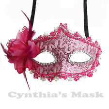 Pink Floral Venetian Masquerade Mask w/Rhinestones and Glitter Party Costume