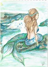 "Original Watercolour and  Acrylic Art Piece ""Mermaid"" Approx 21 x 31 cm"
