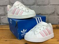 ADIDAS UK 3 EU 19 WHITE PINK CROC SUPERSTAR TODDLER CHILDRENS GIRLS TRAINERS LG
