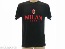T-shirt Originale Milan 1899 nera 100% Cotone Maglia Maglietta Official AC MILAN