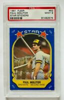 1981 Fleer Paul Molitor Star Stickers Card #82, PSA 9 Mint, Brewers Legend!