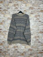 VINTAGE 90'S COSBY WINTER WARM ITALIAN GEOMETRIC WOOL CREW JUMPER MENS XL #664