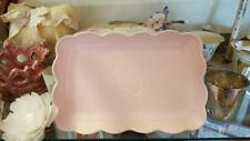 Rectangular Pink Serving Plate With Butterfly Motif. Shabby Vintage