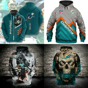 Miami Dolphins Hoodie Pullover Football Hooded Sweatshirt Fans Sport Jacket Gift