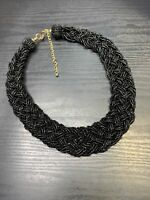 """Vintage Bohemian 20"""" Woven Black Glass Colored seed bead Bib Chunky necklace"""