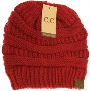 C.C Classic Beanie Hat Solid Knit Acrylic 20A Red #