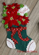 "Bucilla Christmas Poinsettia ~ 18"" Felt Stocking Kit #86705, Flowers, Red, Green"