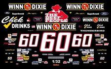 #60 Mark Martin Winn Dixie Thunderbird 1/64th HO Scale Slot Car Waterslide Decal