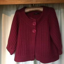 Short Big Button Cardigan In Burgundy With 31/4 Cuffed Sleeve
