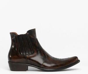 Machete NAVAJO Mens Autumn Handmade Luxury Leather Zip Up Cuban Heel Boots Brown