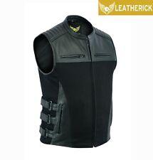 Men SWAT Motorcycle Waistcoat Top Grain Biker Denim Leather Vest Gun Pockets UK