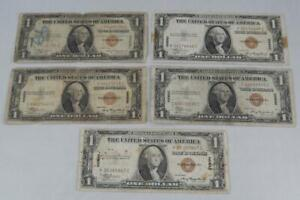 1935A Hawaii Emergency Issue $1 Silver Certificate 5 Note Lot 1935 A P0256