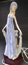 LLadro Nao Table Lamp Elegant Lady Blue Dress