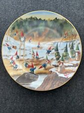 """Rien Poortvliet Collector Plate Secrets Of The Gnomes """"Gnomatic Fitness"""" Rare!"""