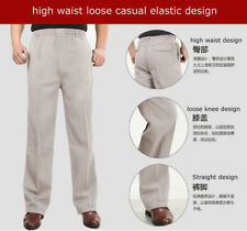 Men Straight pants Linen summer elastic waist long trousers casual Chinese style
