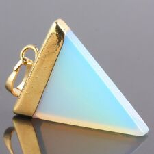 Opal/Opalite Stone Healing Wicca Reiki Gemstone Triangle Golden Charms Pendant