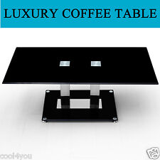 PADEM HOME COFFEE TABLE BLACK GLASS RECTANGLE CHROME CONTEMPORARY LIVING ROOM